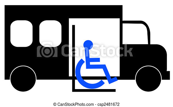 Illustration des Paratransitbus, der Rollstuhlfahrer abholt - csp2481672