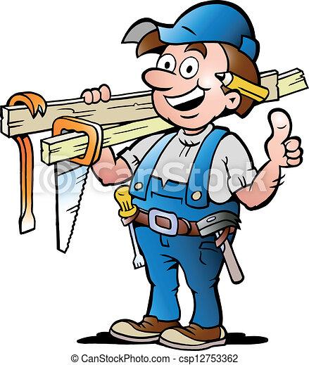 Illustration eines glücklichen Zimmermanns - csp12753362