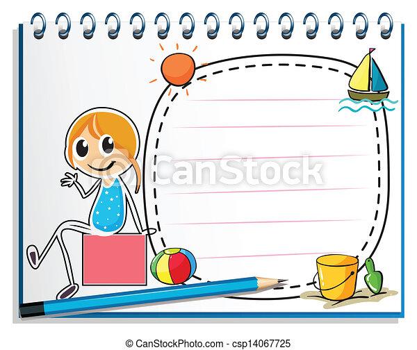 Illustration eines Notizbuchs und eines Bleistifts mit einem Bild eines Mädchens, das auf einer Kiste auf weißem Hintergrund sitzt. - csp14067725