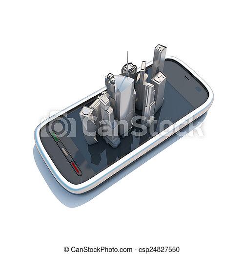 Smartphone mobile Karten und Navigation 3d Abbildung. - csp24827550