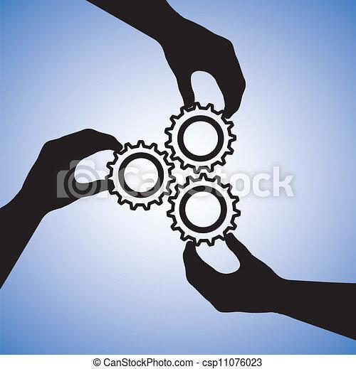 Illustration von Teamwork und Menschen, die für Teamerfolg zusammenarbeiten. Die Grafik umfasst Handsilhouette, die Rädchen halten, die auf Zusammenarbeit und auf Erfolg hinweisen - csp11076023
