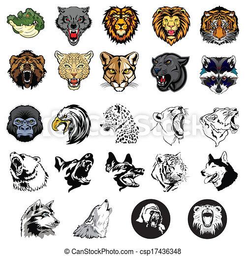 Illustrierte Wildtiere und Hunde. - csp17436348