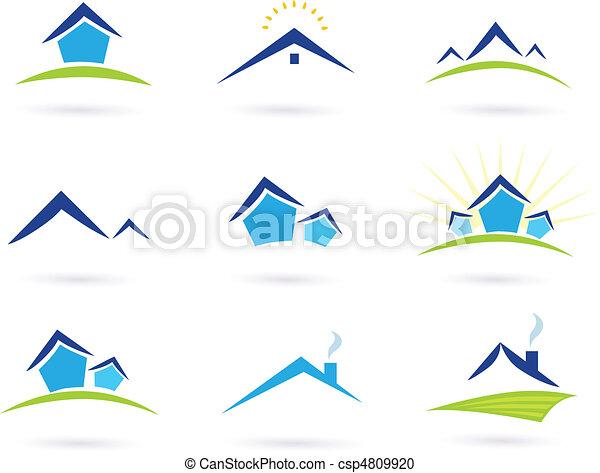 Immobilien / Häuser mit Logo-Ikonen - csp4809920