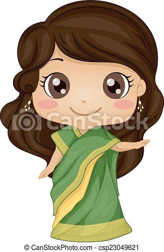 Indisches Kostümmädchen. - csp23049621