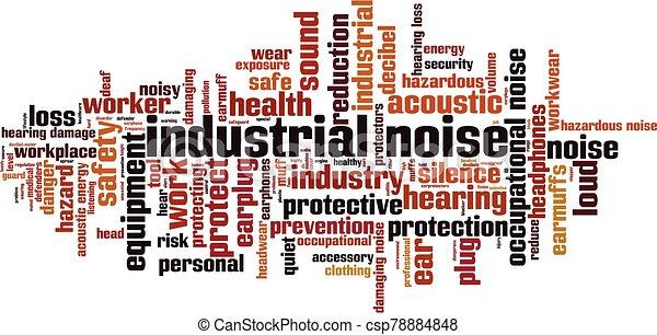 industrie, geräusch, wort, wolke - csp78884848