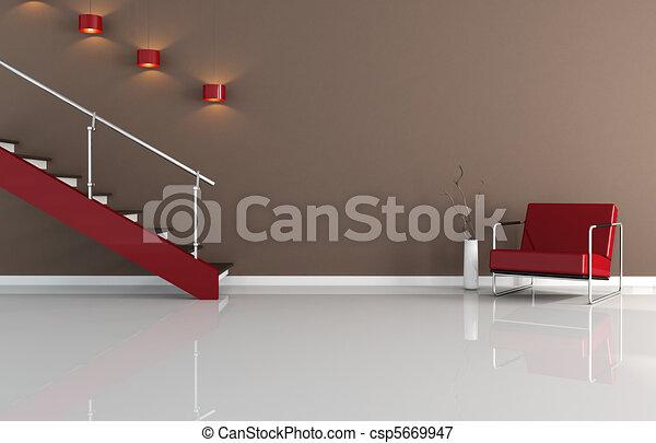 Modernes Inneres mit Treppe - csp5669947