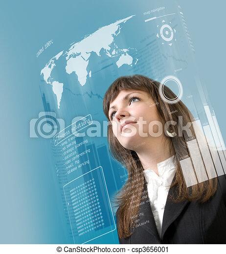 Interface-Sammlung - Brünett steht in der virtuellen Realität - csp3656001