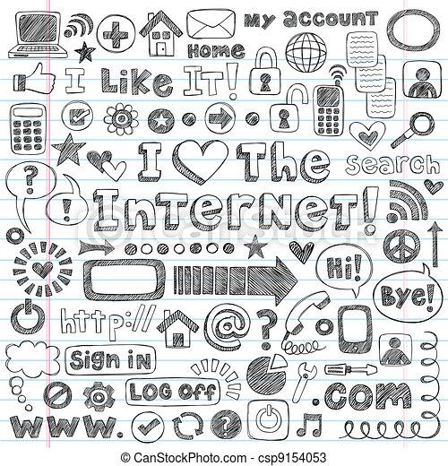 Internet-Web-Doodle-Icon-Vektor-Set - csp9154053