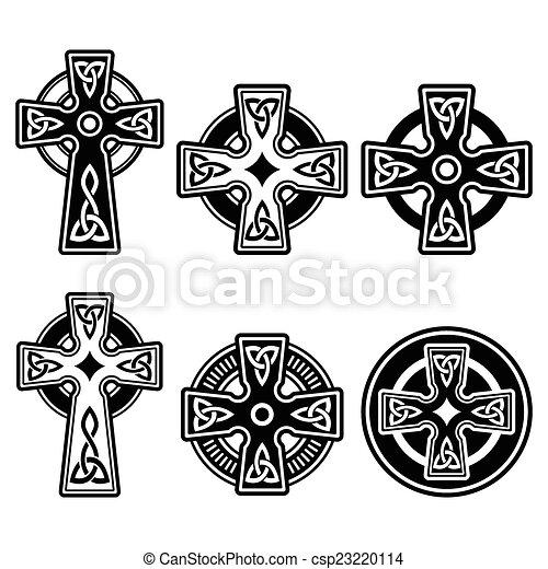 Irisch, keltisches Kreuz. - csp23220114