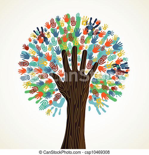 Isolierte Diversitätsbaumhände - csp10469308