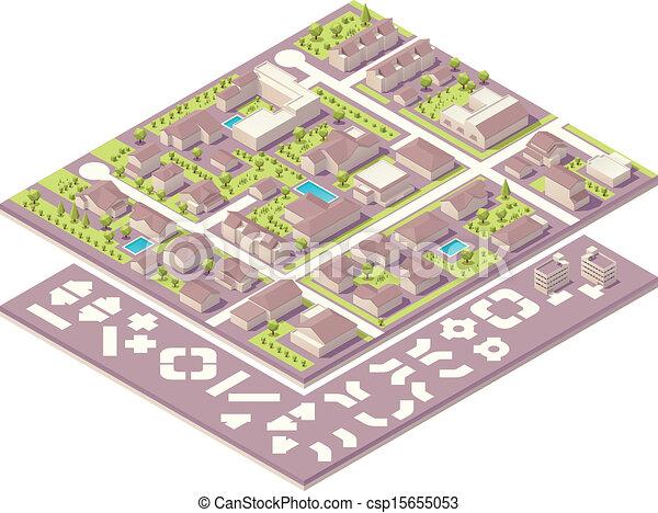 Isometrische kleine Stadtkarte Kreation K - csp15655053