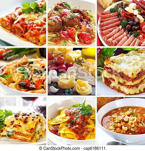 Italienische Lebensmittelkollage - csp6186111