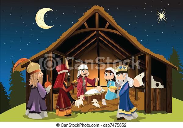 Jesus Christus und drei weise Männer - csp7475652