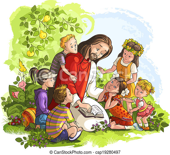 Jesus liest Bibel mit Kindern. - csp19280497