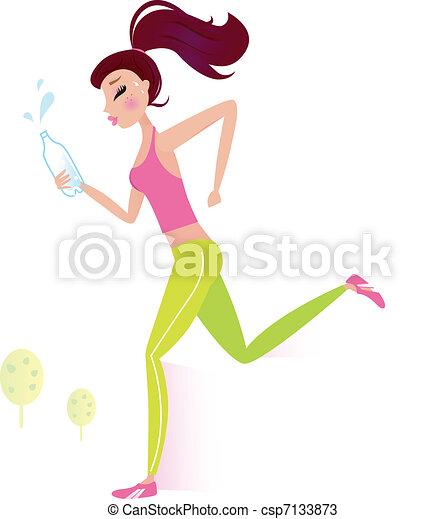 Jogging oder lief gesunde Frau mit Wasserflasche - csp7133873