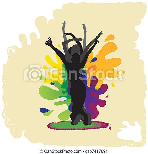 Junge Leute tanzen - csp7417691