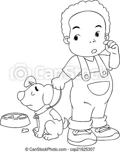 junge, seine, hund - csp21625307