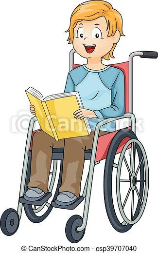 Junger Rollstuhl-Buch. - csp39707040