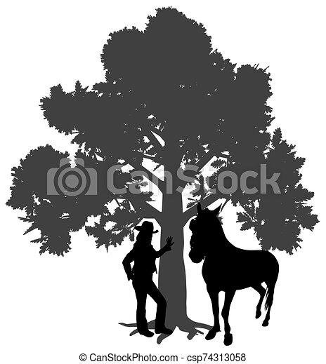 junger, stehende , baum, unter, pferd, frau, eiche - csp74313058