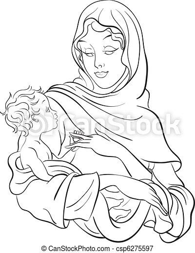 Jungfrau Maria hält Baby Jesus - csp6275597