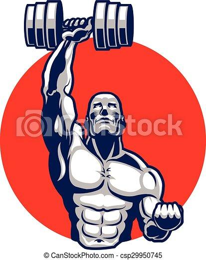 körperbauunternehmer, muskulös, maskottchen - csp29950745