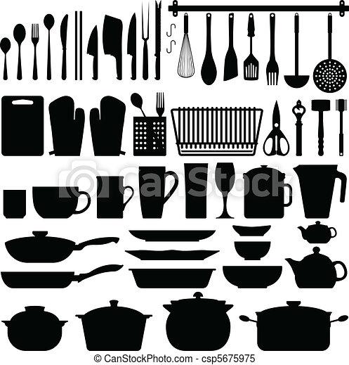 Küchenutensilien Silhouette Vektor - csp5675975