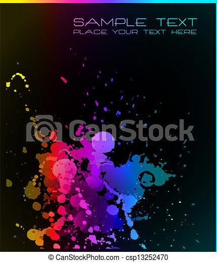 Künstlerischer Hintergrund mit grange Tropfen Flüssigkeit - csp13252470