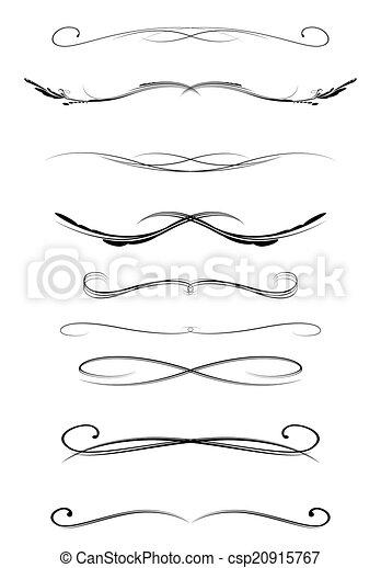 Kalligrafische Trennlinien, Vektor. - csp20915767