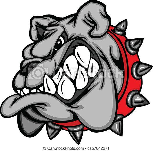 Bulldog Maskottchen-Zeichen-Gesicht - csp7042271