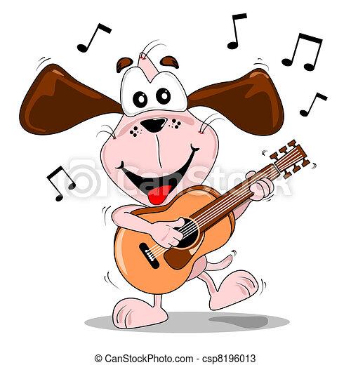 Cartoon Dog spielt Gitarre - csp8196013