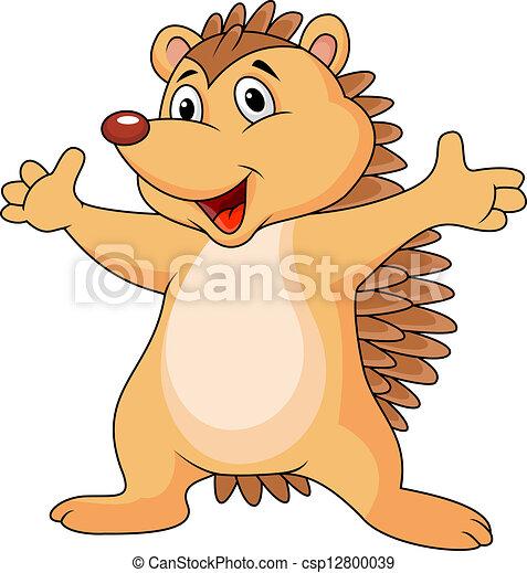 hedgehog cartoon vector illustration des igelzeichens