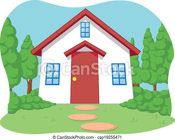 Kartoon aus süßem, kleinen Haus - csp19255471