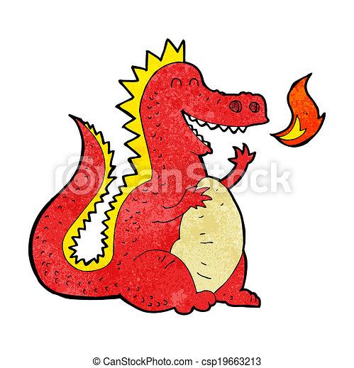 Kartoon-Feuer atmet Drachen. - csp19663213