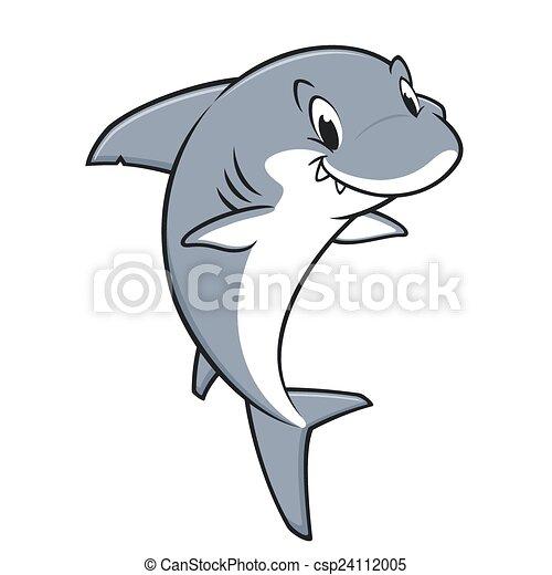 Kartoon freundlicher Hai. - csp24112005