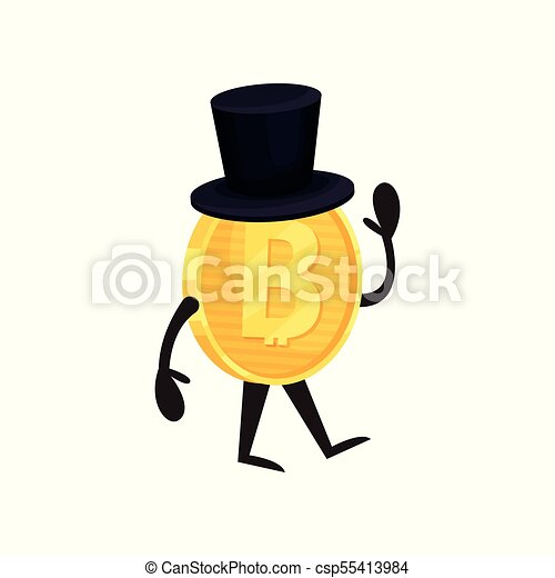 Kartoon humanisierter Bitcoin Charakter mit schwarzem Zylinderhut laufen und winken Hand. Glänzende Goldmünze. Digitales Geld und Finanzkonzept. Flat Vektordesign - csp55413984
