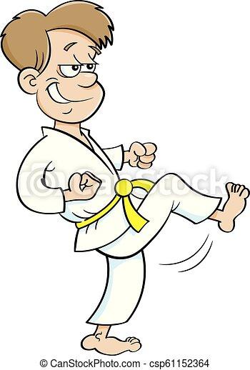 Kartoon-Junge im Karate-Anzug. - csp61152364