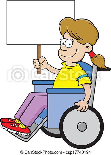 Kartoon-Mädchen im Rollstuhl. - csp17740194
