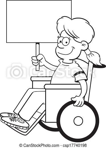 Kartoon-Mädchen im Rollstuhl. - csp17740198
