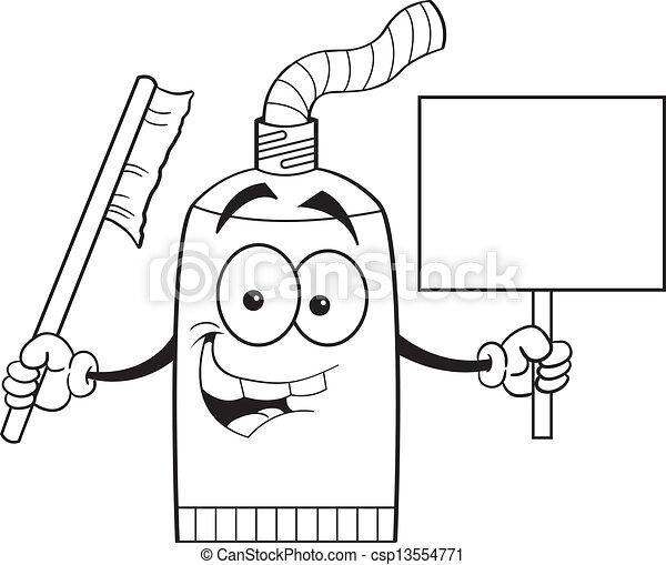 Kartoon Zahnpastaröhre mit einem s. - csp13554771