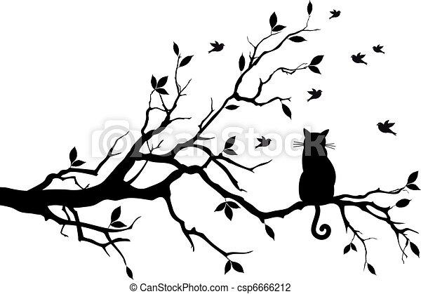 Katze auf einem Baum mit Vögeln, Vektor - csp6666212