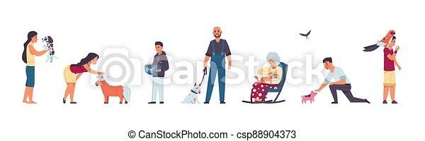 katzen, adoptiert, kliniken, leute, vektor, inländisch, charaktere, nehmen, wohnungslose, abkommen, abirren, sich entfernen, richtung ändern, sich unterscheiden, tierarzt, satz, pets., hund, spielende , zentrieren, annahme, unterstand, dogs., tiere - csp88904373