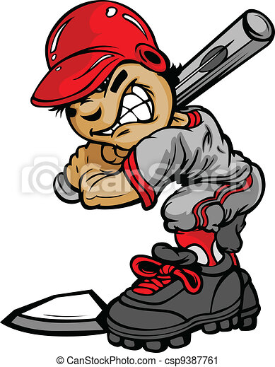 Kid Baseballschläger hält Batvektor-Bild - csp9387761