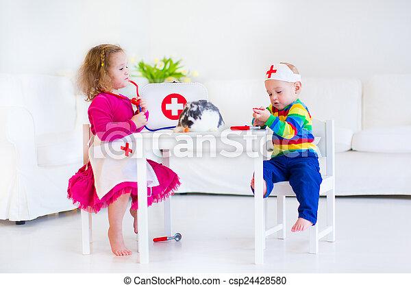 Kinder, doktorspiele. Reizend, schwester, junge, daheim
