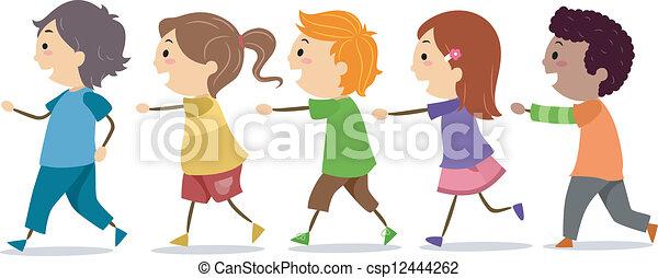 Kinder gehen in einer Reihe - csp12444262