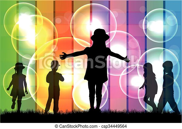 Kinder Silhouette. - csp34449564