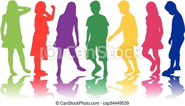 Kinder Silhouette. - csp34449539