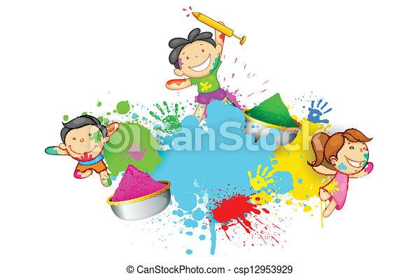 Kinder spielen Holi - csp12953929