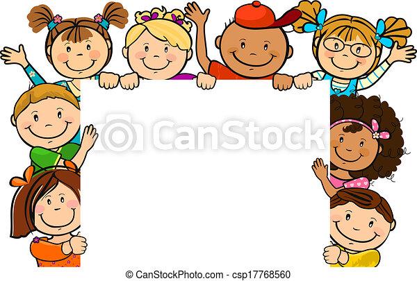 Kinder zusammen mit Quadrat. - csp17768560