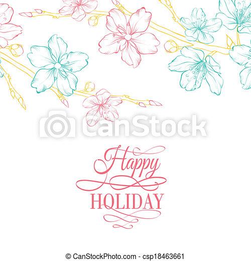 Kirschblüte auf dem Ast - csp18463661