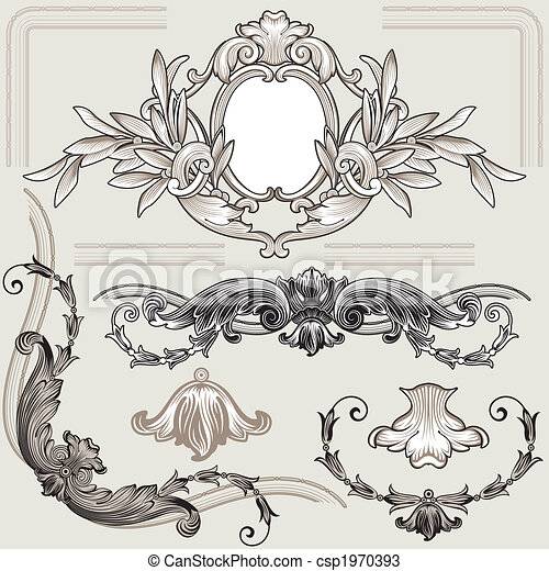 Klassische Blumendekorationselemente - csp1970393